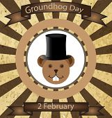 stock photo of marmot  - Illustration of Groundhog Day two dedicated in February - JPG