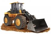 picture of wheel loader  - Generic construction bulldozer loader excavator construction machinery equipment positioned on dirt with a white background - JPG