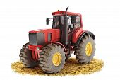 stock photo of tractor  - Red generic tractor positioned on a field with a white background - JPG