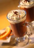 image of hot-chocolate  - wanderful hot chocolate white white cream and orange deco - JPG