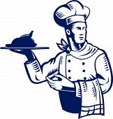 stock photo of chefs hat  - Vector illustration of a chef cook or baker at work done in retro woodcut style - JPG