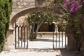 stock photo of filerimos  - Yard in the Monastery of Our Lady of Filerimos mountain of Rhodes Greece photo - JPG