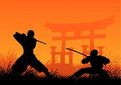 foto of ninja  - vector illustration of traditional japanese ninjas fighting - JPG