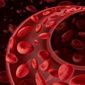 stock photo of blood vessels  - Blood cells circulation symbol as a medical health care concept with a group of three dimensional human cells flowing through a dynamic artery or vein connected to the circulatory system - JPG