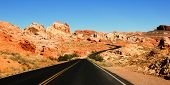 stock photo of valley fire  - Road through scenic Valley of Fire State Park - JPG