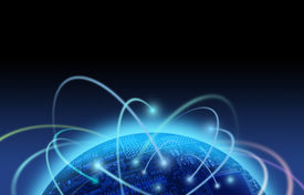 stock photo of world-globe  - Binary information flow around the world globe - JPG