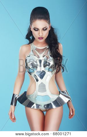 Fantasy. Glam. Extravagant Woman In Stagy Art Costume