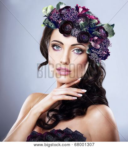 Valentine. Woman In Colorful Wreath Of Flowers