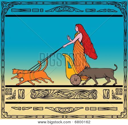 Freya Norse goddess riding chariot pulled by cats