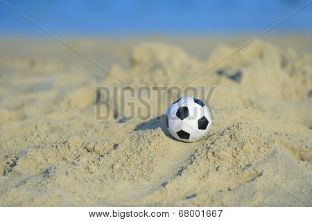 A soccer ball at a local beach