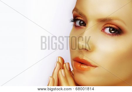 Close Up Portrait Of Young Woman And Manicured Fingernails