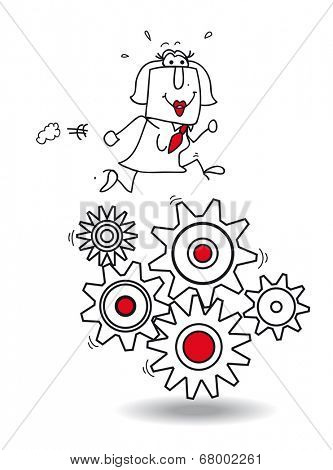 work concept. Businesswoman running on gears. It's a metaphor of the productivity
