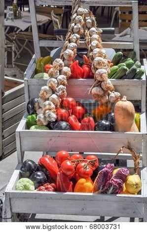 Vegetables On Supermarket Shelf