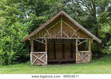 Wooden Shelter In A Park