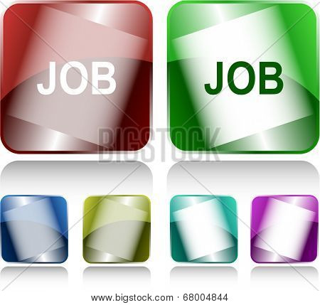 Job. Internet buttons. Raster illustration.