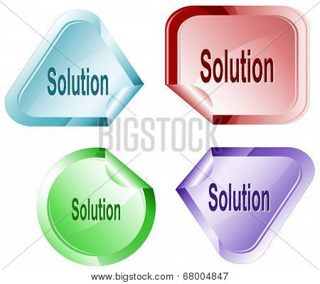 Solution. Stickers. Raster illustration.