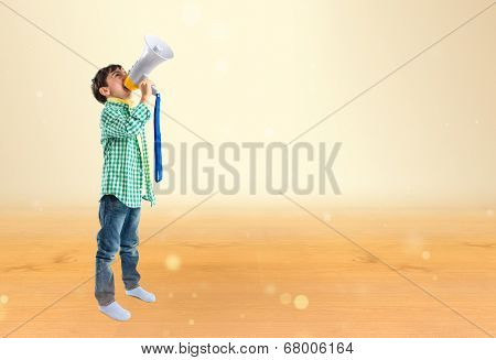 Kid With Megaphone Over Ocher Background
