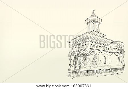 Architecture. Sketch. Drawing Of Church