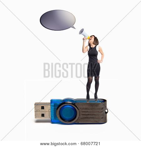 Woman Shouting With A Megaphone On Pendrive