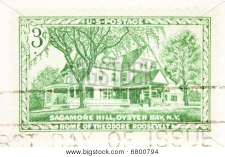 Usa - Circa 1953: A Stamp Printed By Usa Shows Sagamore Hill Home Of Theodor Roosevelt Circa 1953