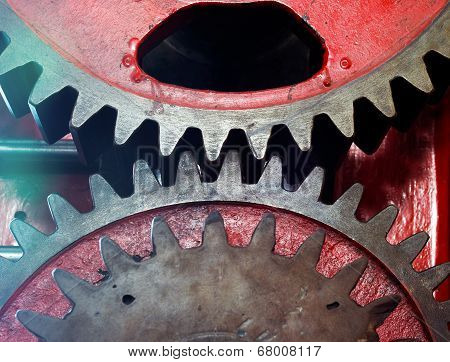 Pinion Gear Of Mechanical Machine In A Factory