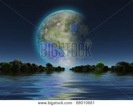 Terraformed Luna rises over water Elements of this image furnished by NASA
