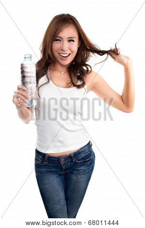 Young Beautiful Woman Holding Bottle Of Water.