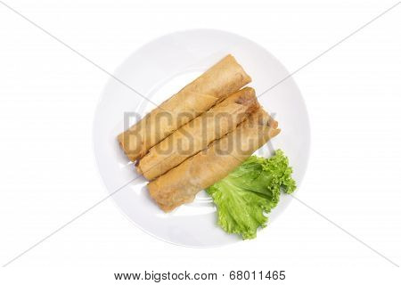 """""""Spring rolls"""" (Dim sum or Loempia, isolated with clipping paths."""