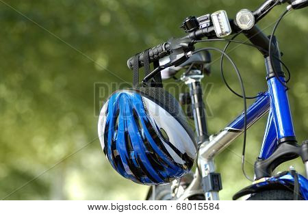 Blue Helmet on Bicycle