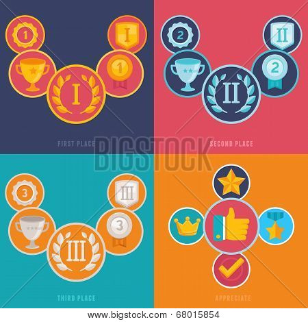 Vector Gamification Icons In Flat Style