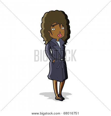 cartoon woman in trench coat
