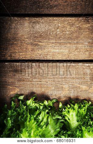 Fresh Green Salad Over Wooden Background - Healthy Or Vegetarian Food Concept. Lettuce Salad Backgro
