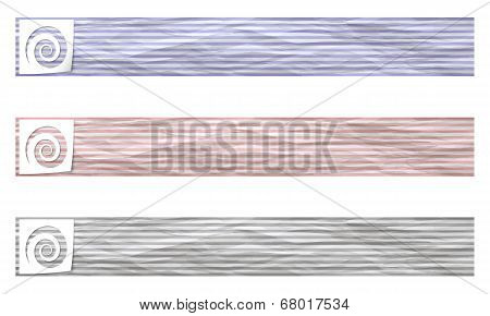 Set Of Three Banners With Pattern Crumpled Paper And Spiral