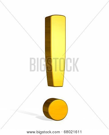 Golden 3D Exclamation Mark