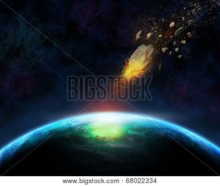 Space scene background with blazing meteorite about to hit a fictional planet