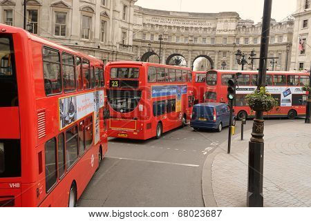 London iconic double decker buses