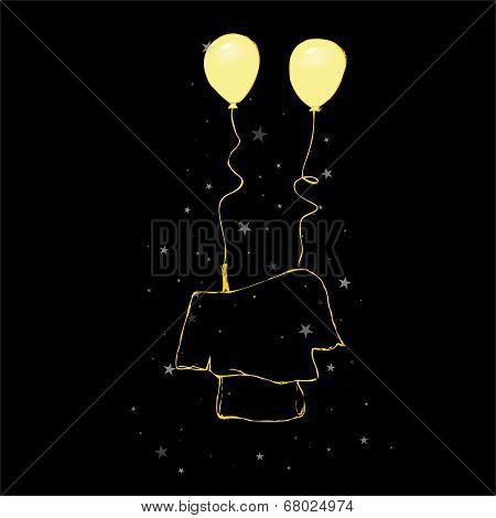 Sketch - fashionable blouse + balloons