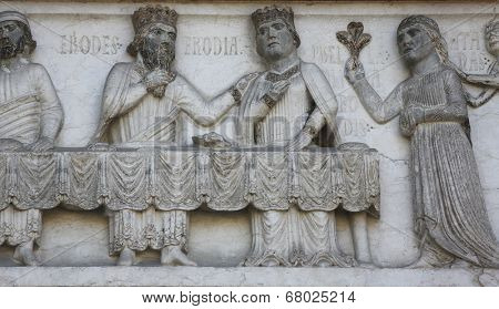 PARMA, ITALY - MAY 01, 2014: Detail of marble carvings on the baptistery from Benedetto Antelami. Baptistery in Parma is considered to be among the most important Medieval monuments in Europe.
