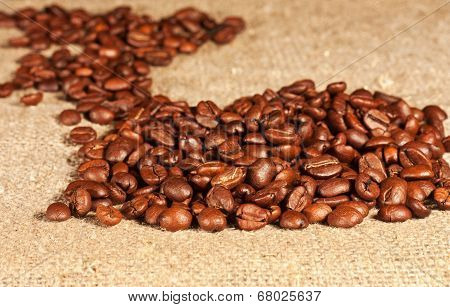 Coffee Beans Lying On Sacking