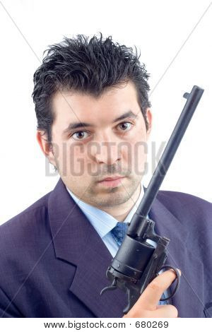 Man In A Suit Holding A Gun (clipping Path Included)