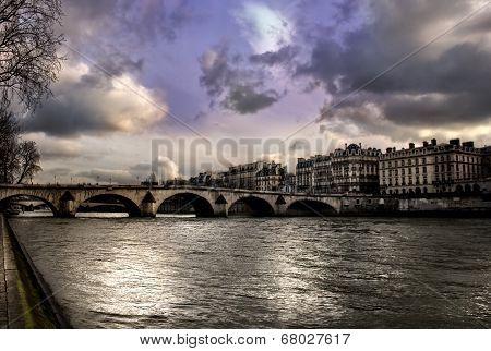 Sena River In Paris After Storm