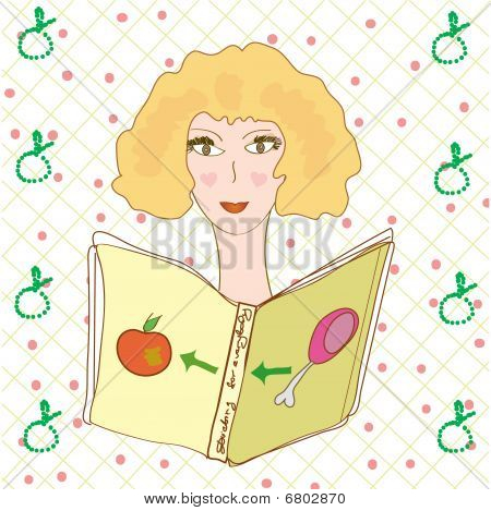 Girl reading book about diet