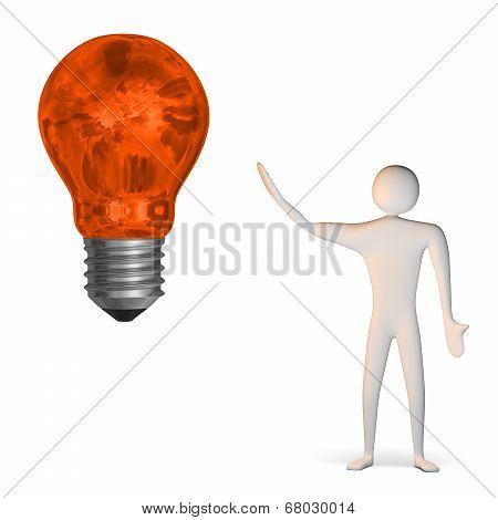 3D Man And Weird Orange Light Bulb