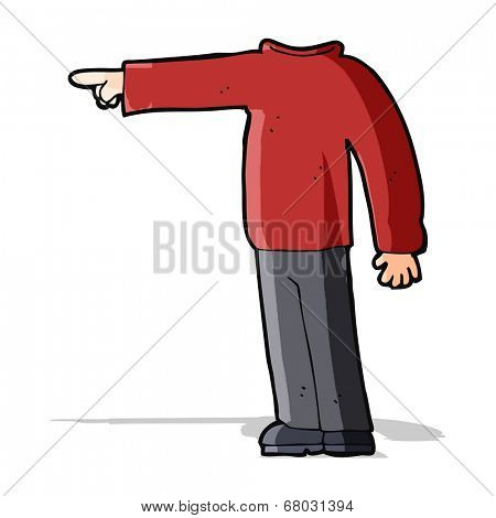cartoon headless man pointing