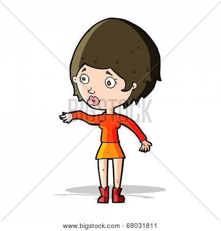 cartoon concerned woman reaching out