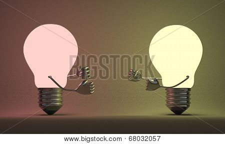 Reddish Glowing Light Bulb Fighting Against Yellowish One