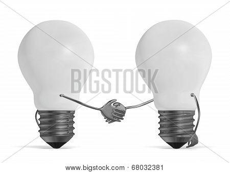 White Light Bulbs Handshaking Isolated