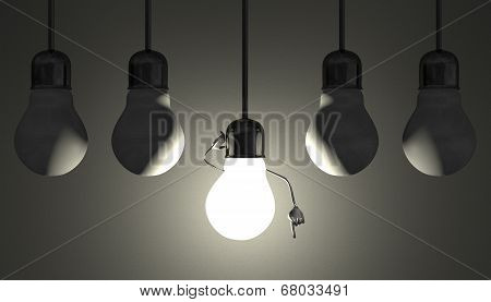 Light Bulbs In Sockets, Moment Of Insight On Gray