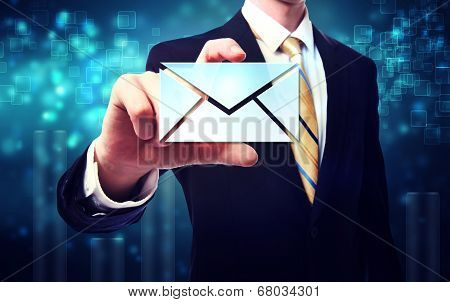 Business Man With Email Envelopes