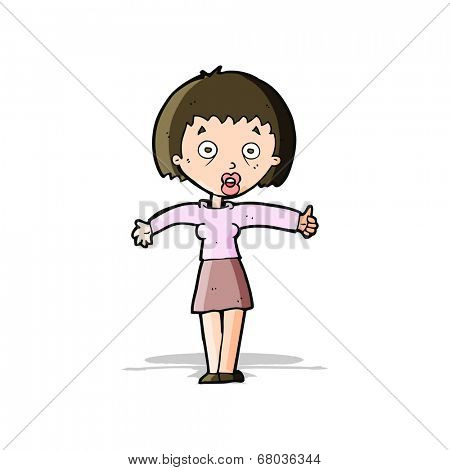 cartoon amazed woman